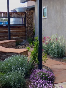 Waterwise Landscapes office garden with rainwater cistern,banks and patio